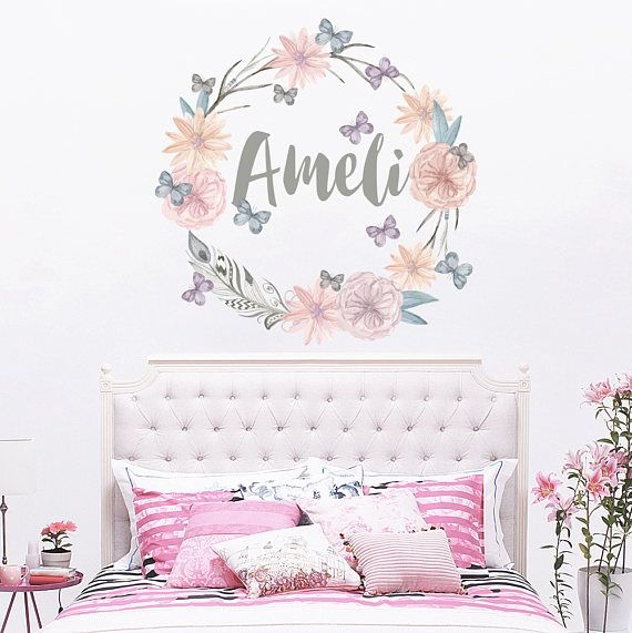 personalized name wall decal rustic nursery decal girls name wall
