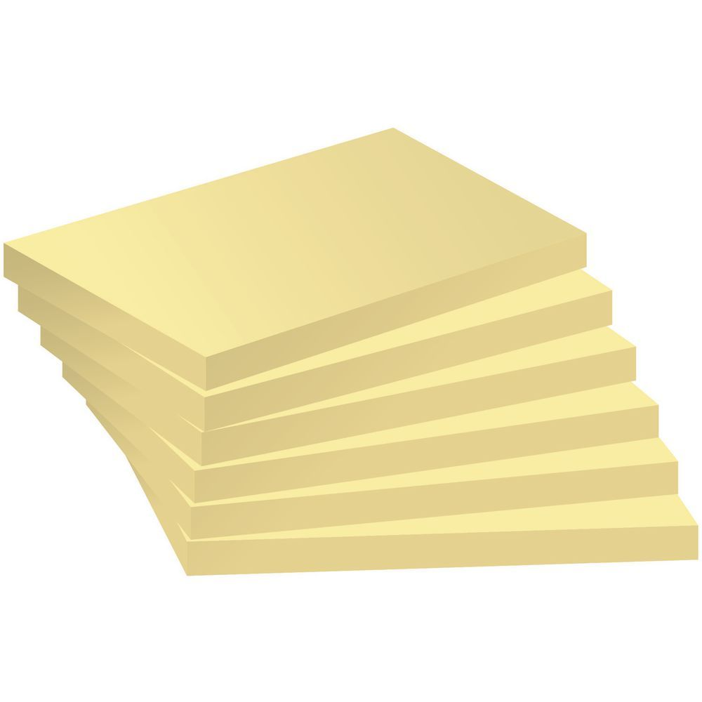staples stickies sticky notes pad 76 x 102 mm yellow 100 sheets