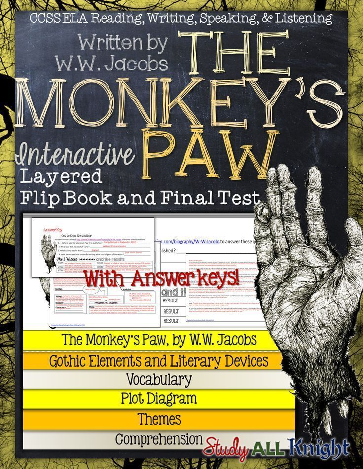 The Monkeys Paw Short Story Literature Guide Flip Book Test And