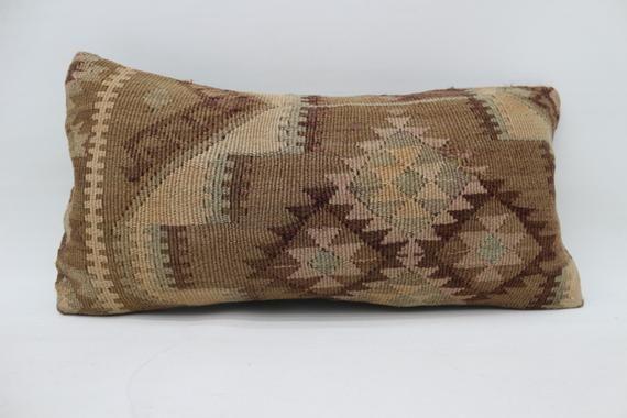 12x24 Kilim Pillow, Organic Pillow,Lumbar Pillow, Outdoor Pillow, Pillow Cover, Geometric Pillow, Br