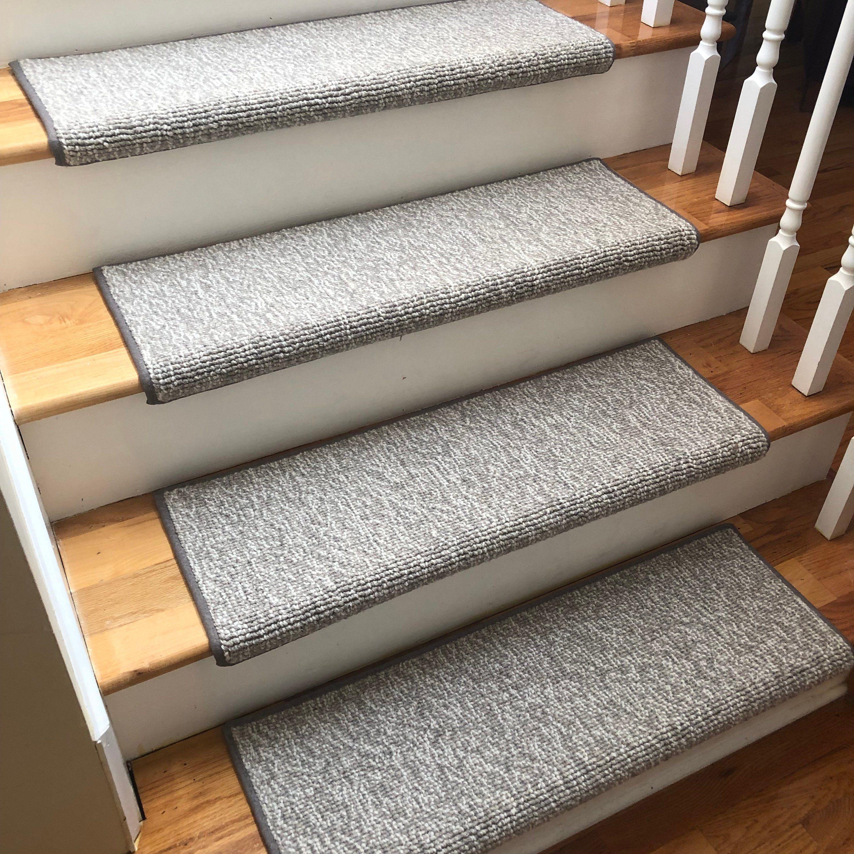 Best Seaside Stone 100 Wool True Bullnose™ Padded Carpet Stair 400 x 300