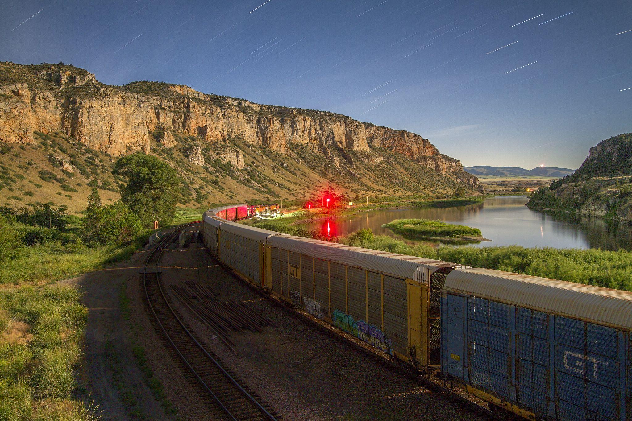 https://flic.kr/p/uHAp9S | Hold the Main | A BNSF Railway V-AUBKCK train (Vehicles-Auburn, Washington-Kansas City, Kansas) waits on Montana Rail Link's 2nd Subdivision main during a gorgeous moonlit evening in Lombard Canyon. Lombard, Montana.