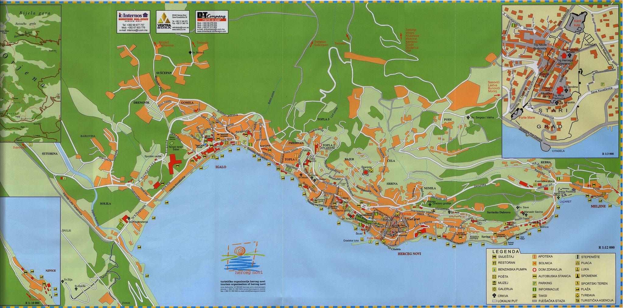 herceg novi mapa herceg novi mapa grada/ city map; 2014_2, Montenegro | Pinterest  herceg novi mapa