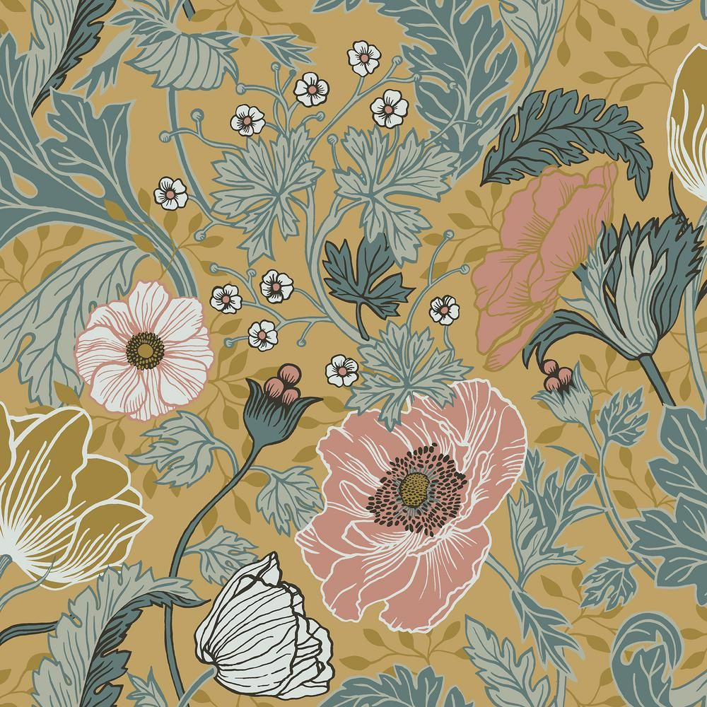 AStreet Anemone Mustard Floral Wallpaper294833002 The