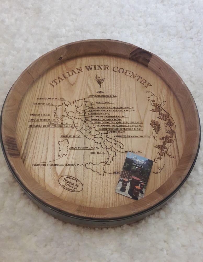 New Wood Wine Barrel Top Italian Country Map Wall Decor Art Italy Briganti