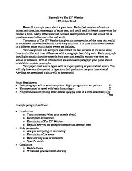 beowulf vs the th warrior paragraph and students this is a compare and contrast essay assignment using the text of beowulf and the film