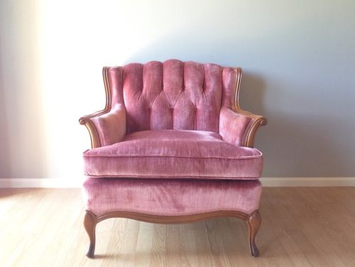 Vintage Pink Velvet Bergere Chair.