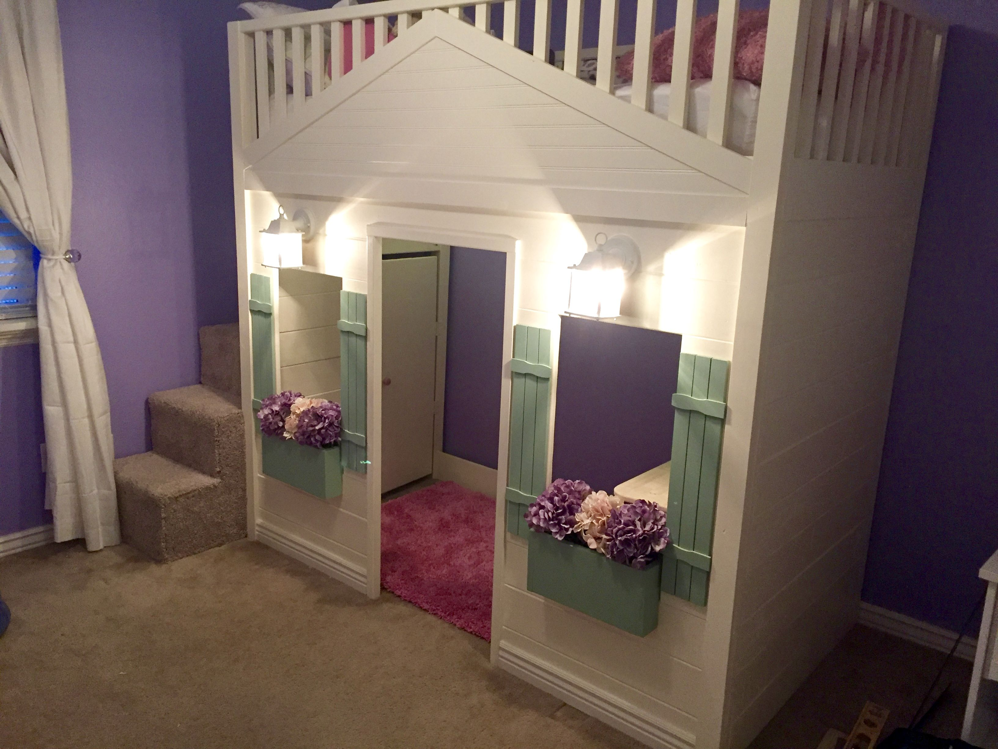 Cottage Loft bed playhouse with stairs, lights and desk