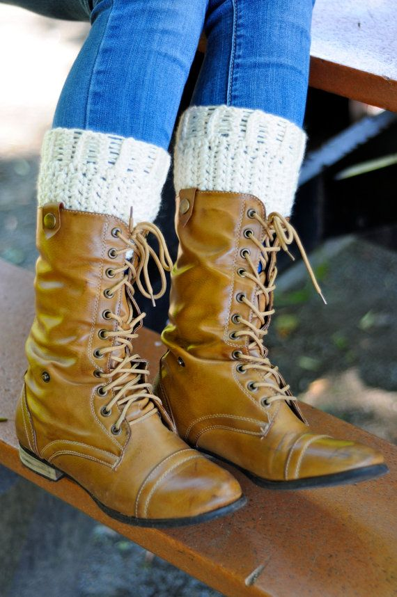 boot cuffs plus size crochet boot socks in cream leg by caheez