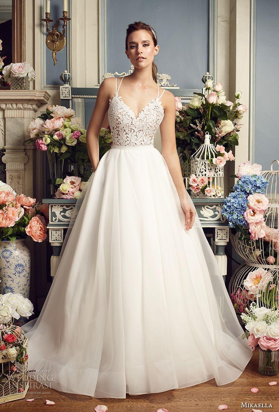 Mikaella fall bridal double thin strap sweetheart neckline