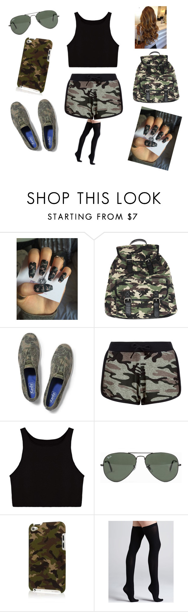 """Camo"" by livelovelaugh701 ❤ liked on Polyvore featuring Wet Seal, Keds, New Look, Ray-Ban and Commando"