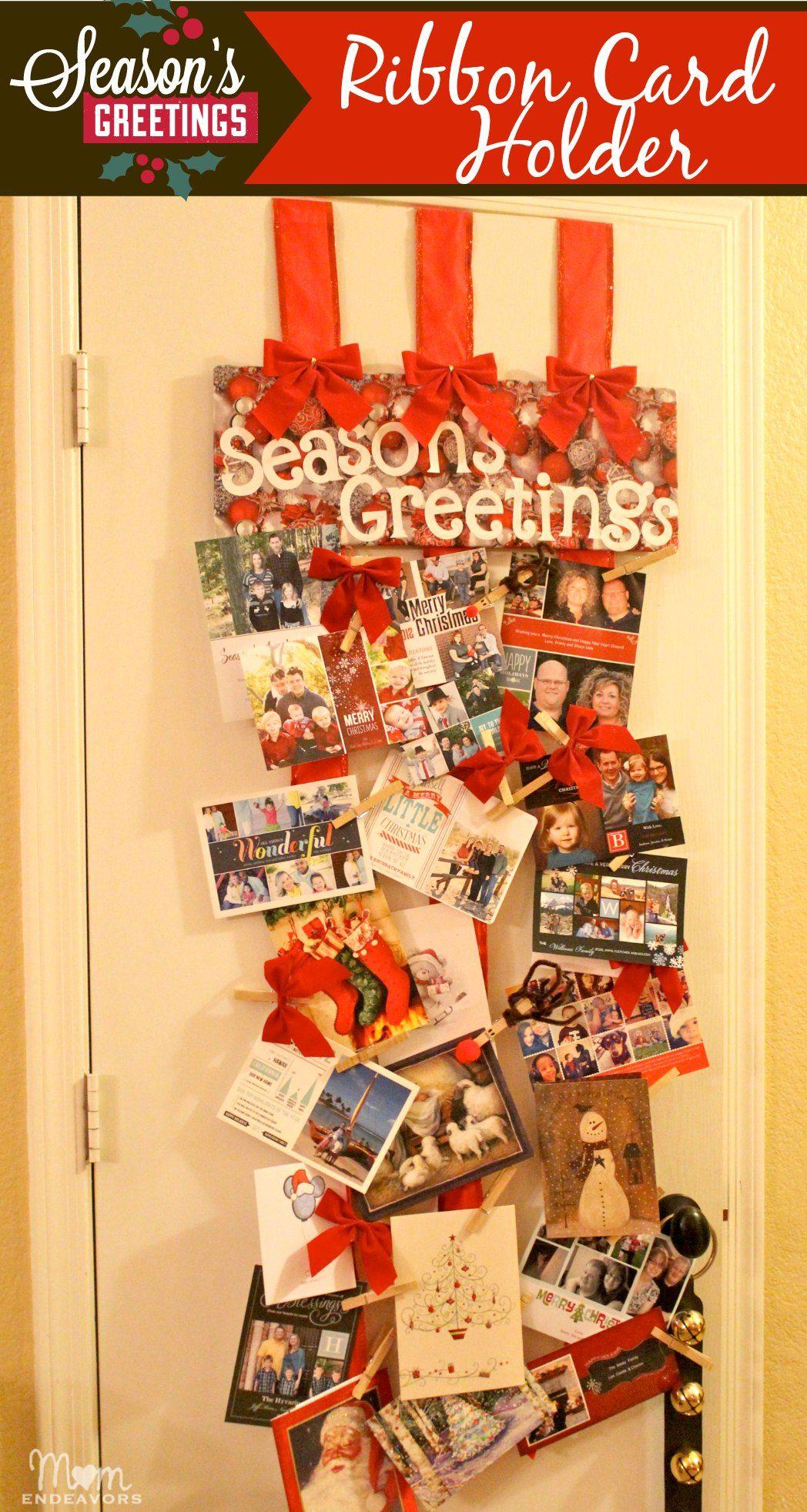 A Great Way To Display Christmas Cards Diy Ribbon Christmas Card