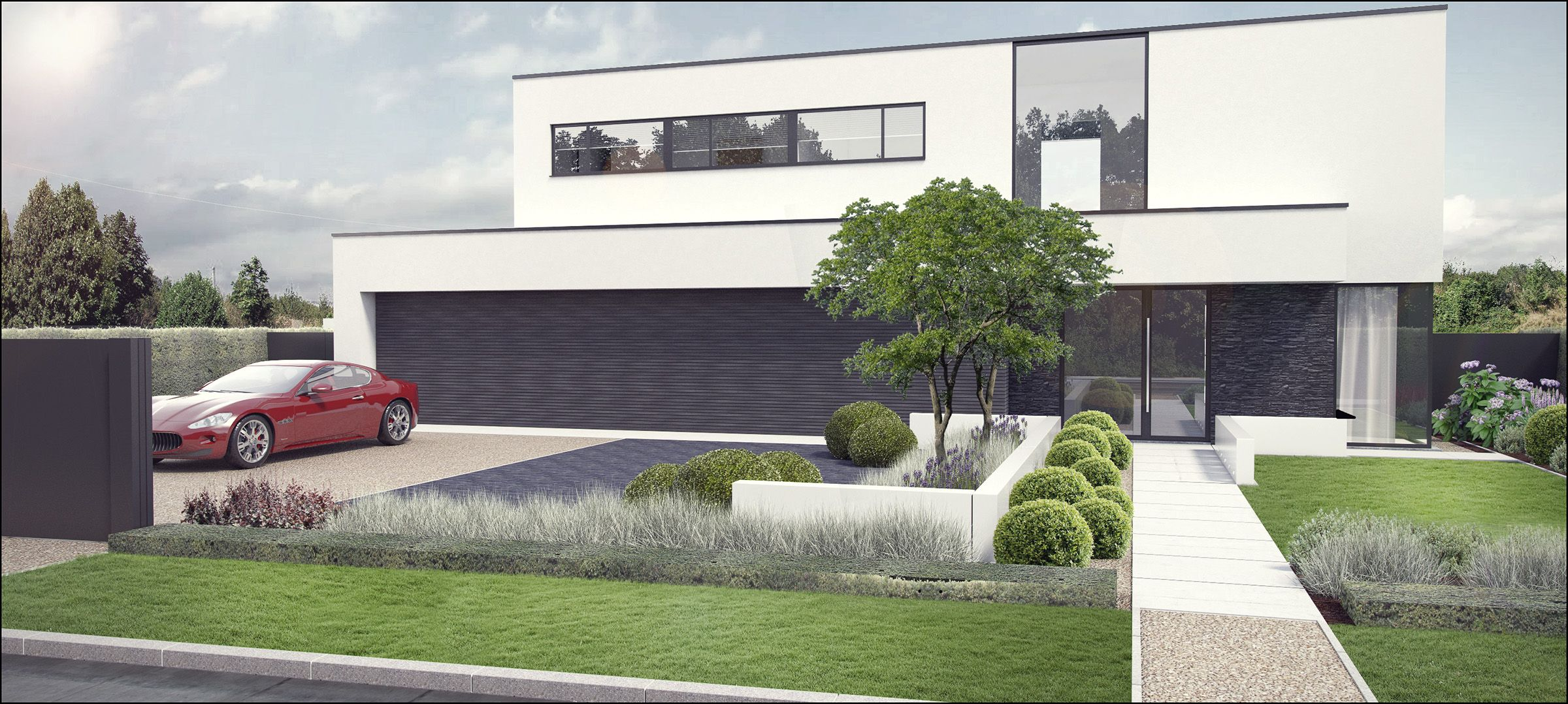 Eco tuinarchitectengroep 3d projecten tuin moderne woning tuin pinterest driveways for Tuin modern design