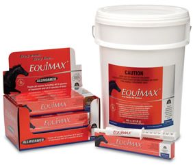 Australia's No. 1 horse wormer; treats up to 700kg. Kills all susceptible internal parasites including all 3 species of tapeworms, all 3 species of bots and BZ resistant worms.Equimax horse wormer