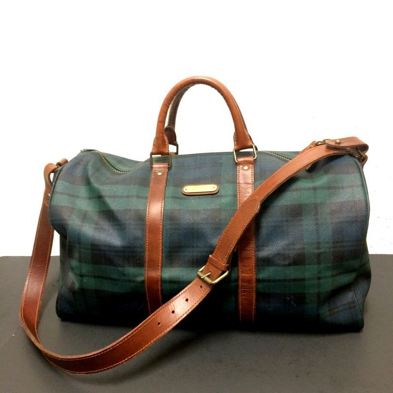 Vintage Ralph Lauren Black Watch Tartan Plaid Large Duffle Bag w Cognac  Leather  PoloRalphLauren 47aae9bfbc030