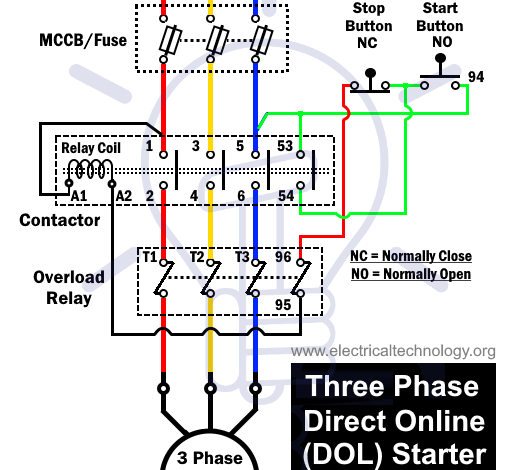What Is Dol Starter Direct Online Starter Wiring And Working Electrical Circuit Diagram Circuit Diagram Electronic Engineering