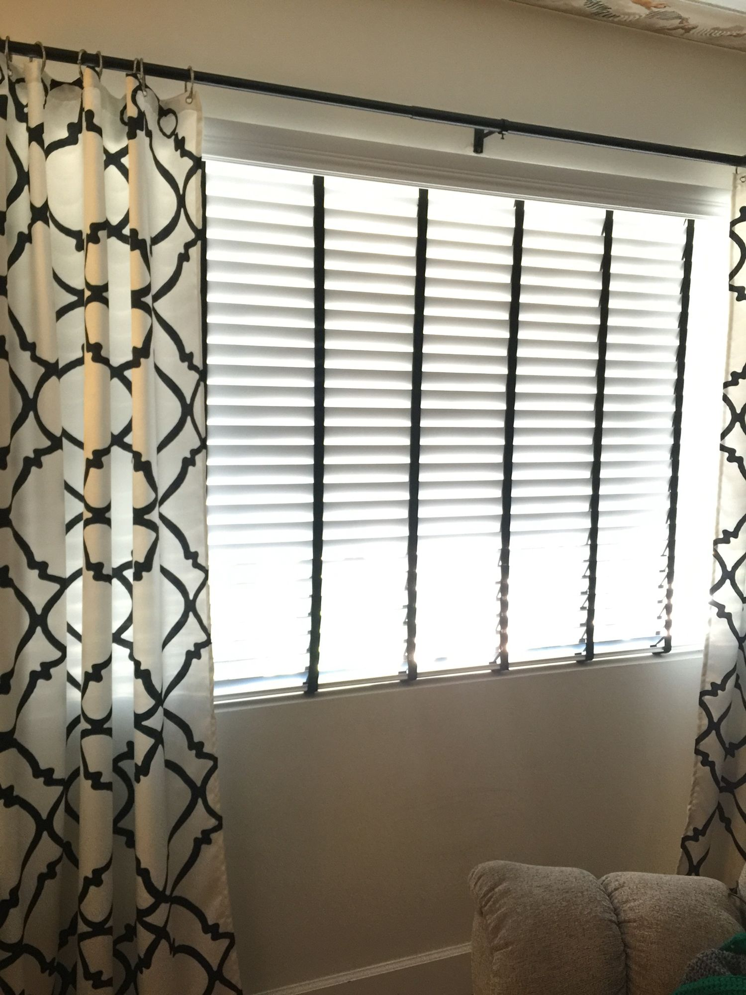 Bali White Faux Wood Blinds With Black Cloth Tape