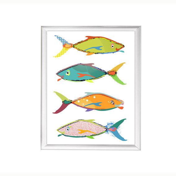 Fish Bathroom Wall Decor Canvas Or Print Coastal Art Etsy Kids Bathroom Art Kid Bathroom Decor Beach House Wall Art