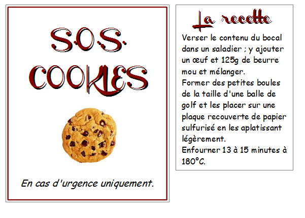 sos cookies la recette les quatre feuilles du tr fle de. Black Bedroom Furniture Sets. Home Design Ideas