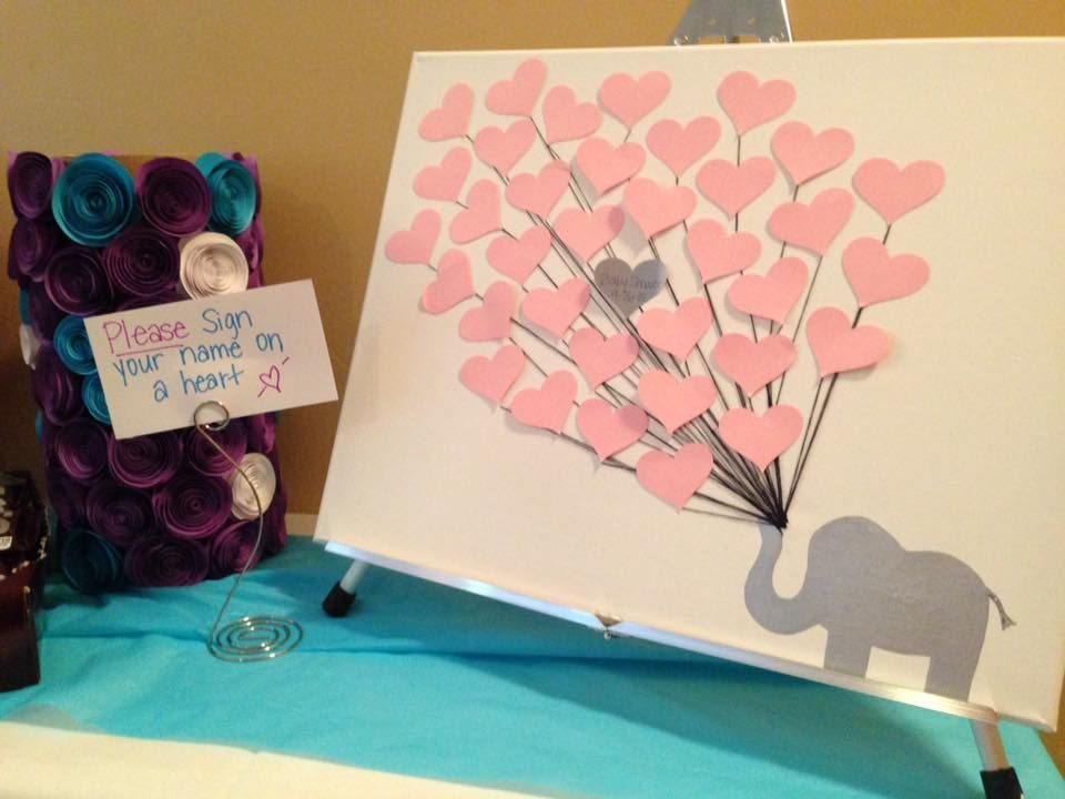 Baby Shower Guest Book Canvas ~ Baby shower guest book alternative elephant themed on