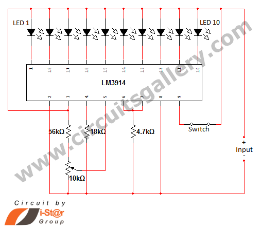 led dot display based battery charge level indicator circuit diagramled dot display based battery charge level indicator circuit diagram gallery of electronic circuits and projects, providing lot of diy circuit diagrams,