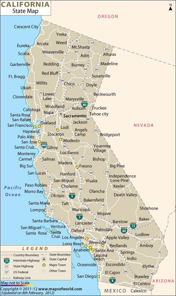Map of #California in #USA | USA Maps | Pinterest | California map ...
