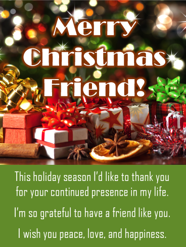 There Is No Present Like The Gift Of Presence Send This Glittery Presents Under The Tree Christmas Card To Merry Christmas Card Merry Christmas Friends Christmas Cards