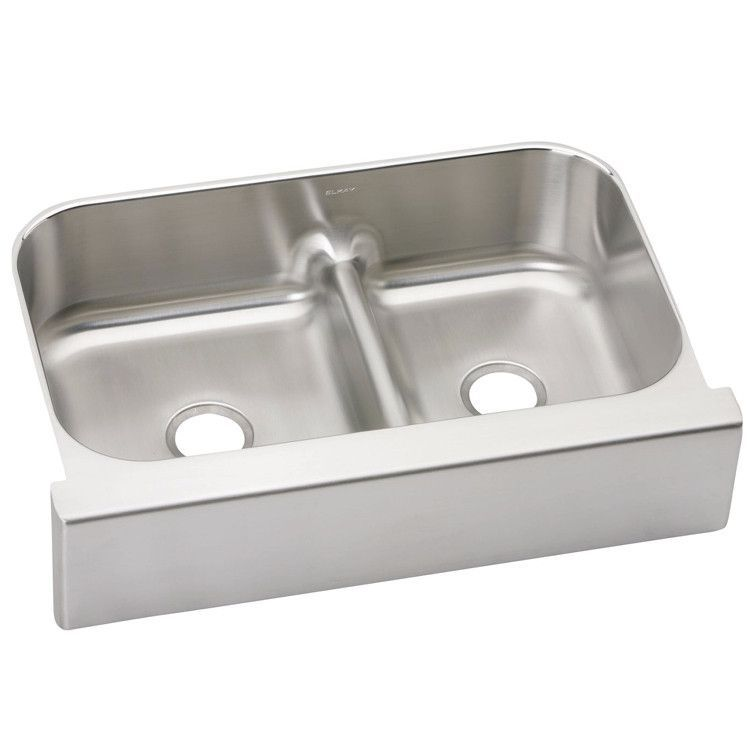 Stainless Farmhouse Sink 34 5 8 Elkay Lustertone Aqua Divide