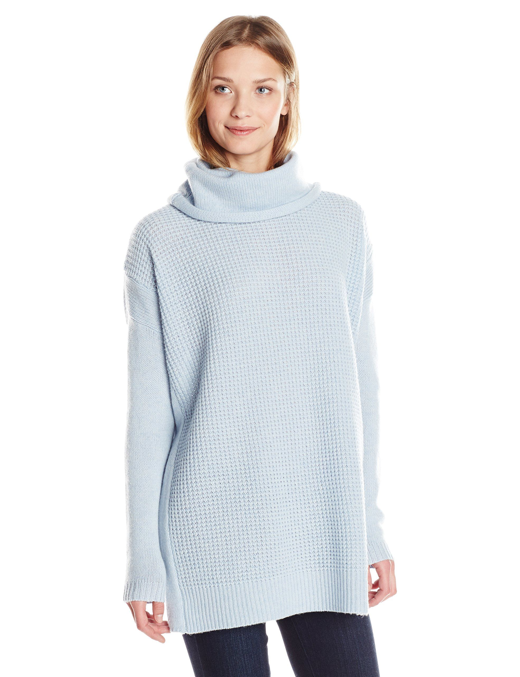 Joan Vass Women's Cowl Neck Tunic Sweater, Artic Blue, 1 | Closet ...