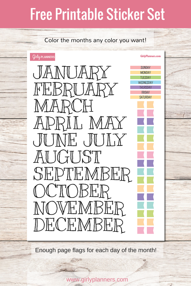 free printable sticker set for your planner or bullet journal