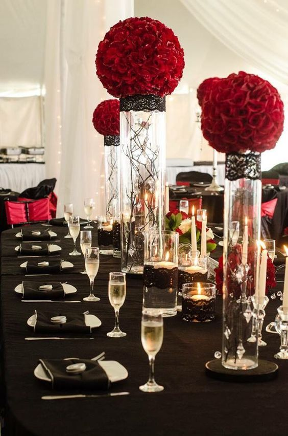 Deep Red Rose Balls On Cylinder Vases With Hanging Crystals And
