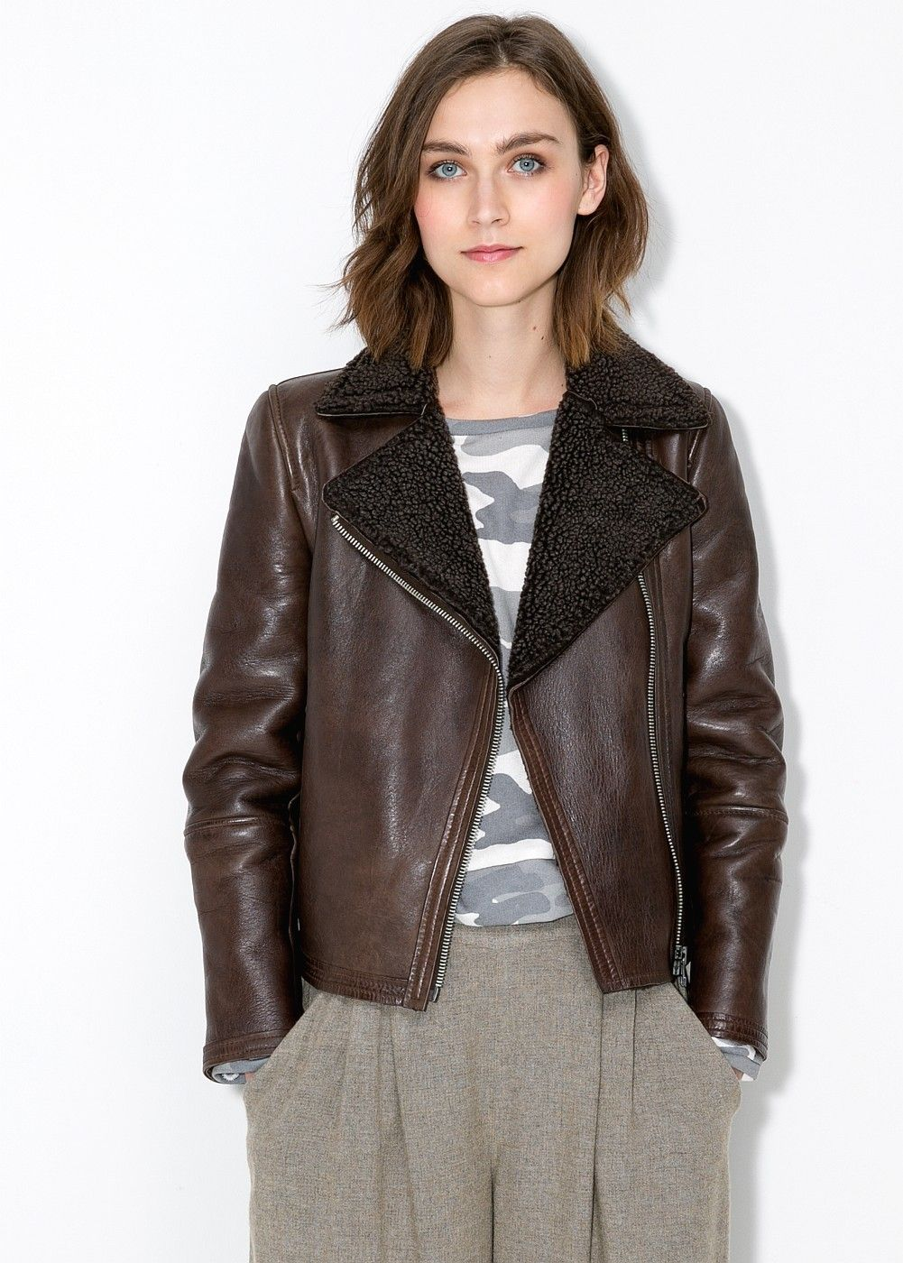 Shearling-lined leather jacket | Coats, Jackets for women and ...