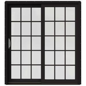 Bon W 2500 Black Prehung Left Hand Clad Wood Sliding Patio Door With 15 Lite  Grids JW2201 01779 At The Home Depot   Mobile