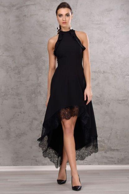 Kadın Siyah Asimetrik Kesim Gece Elbisesi