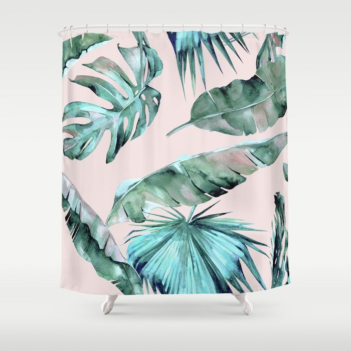 Buy Tropical Palm Leaves Turquoise Green Coral Pink Shower Curtain By  Naturemagick. Worldwide Shipping Available