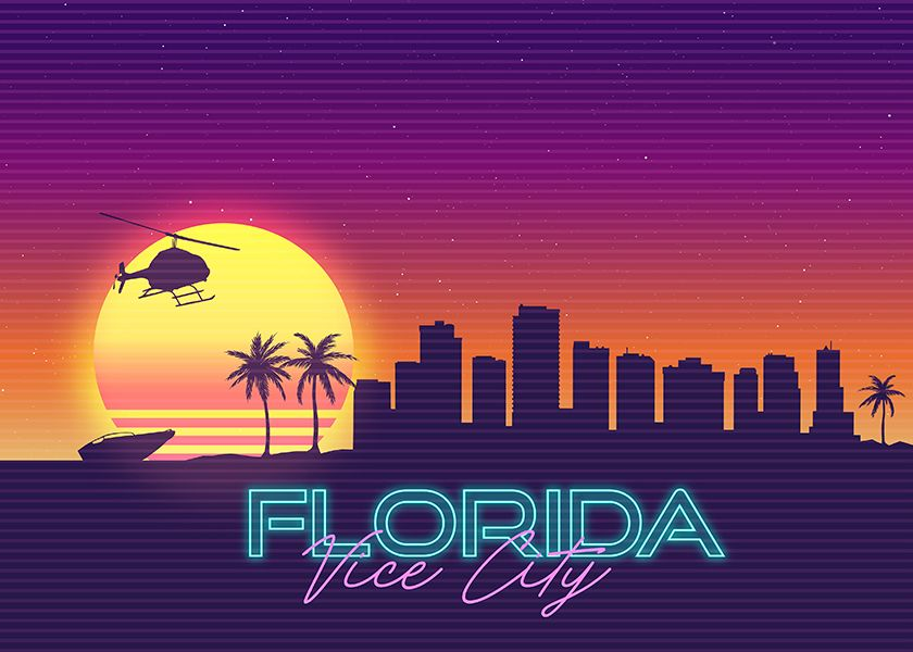 Vice City Florida Gta Skyline Landscape Syntwhave Poster By Artandroam In 2020 Beach Artwork Poster City Aesthetic