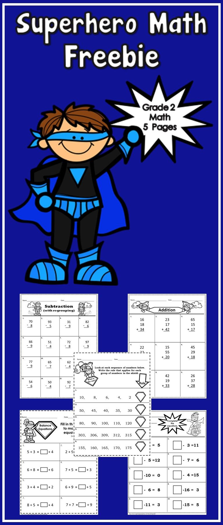 Freebie 5 No Prep Printables Sample Pages From Some Of My Grade 2 Superhero Themed Math Products Enjoy Superhero Math Second Grade Math Math Printables [ 1805 x 768 Pixel ]
