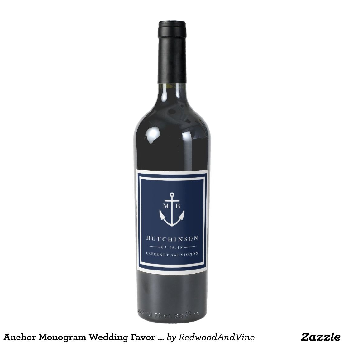 anchor monogram :: personalized wedding favor wine bottle labels in ...