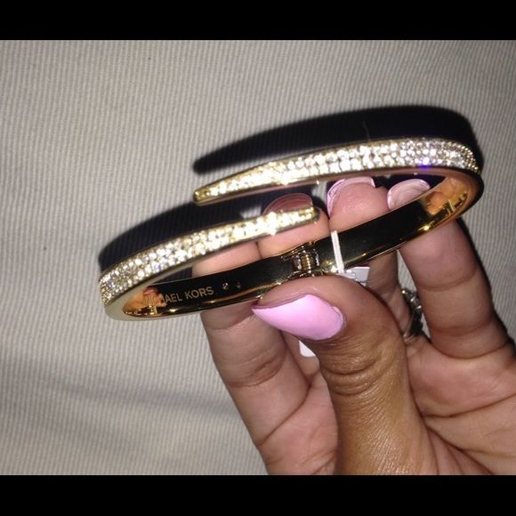 "Michael Kors ""MatchStick Pavé"" Cuff Bracelet Gold Bangle with diamonds all over Michael Kors Jewelry Bracelets"