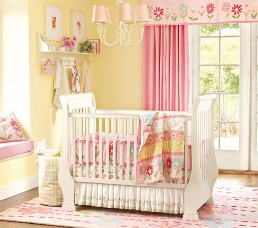 Sweet Baby Girl Nursery Theme With Yellow Wall And Pink Curtain