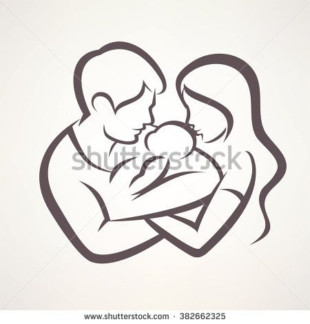 Happy Family Stylized Vector Symbol Young Parents And Baby Baby Sketch Father And Baby Baby Drawing