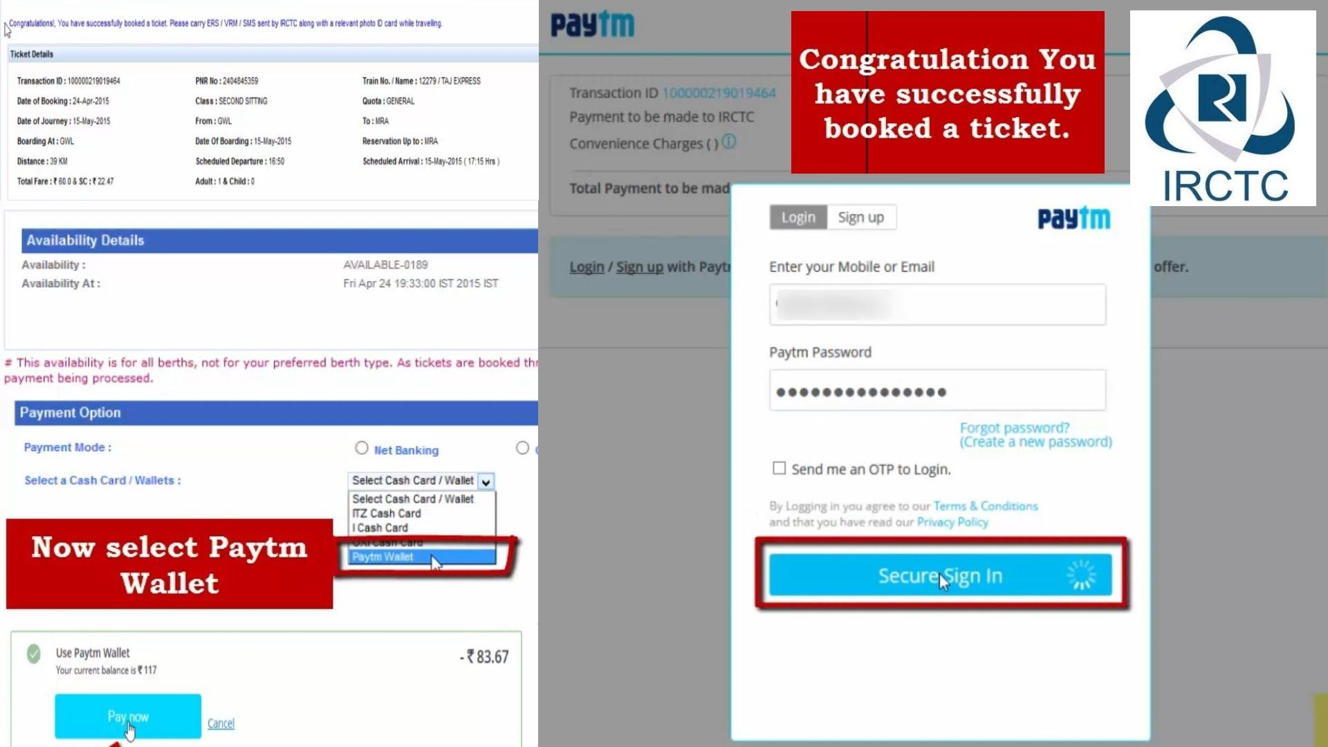 Book Tatkal Ticket Through Paytm Wallet, Booking Train