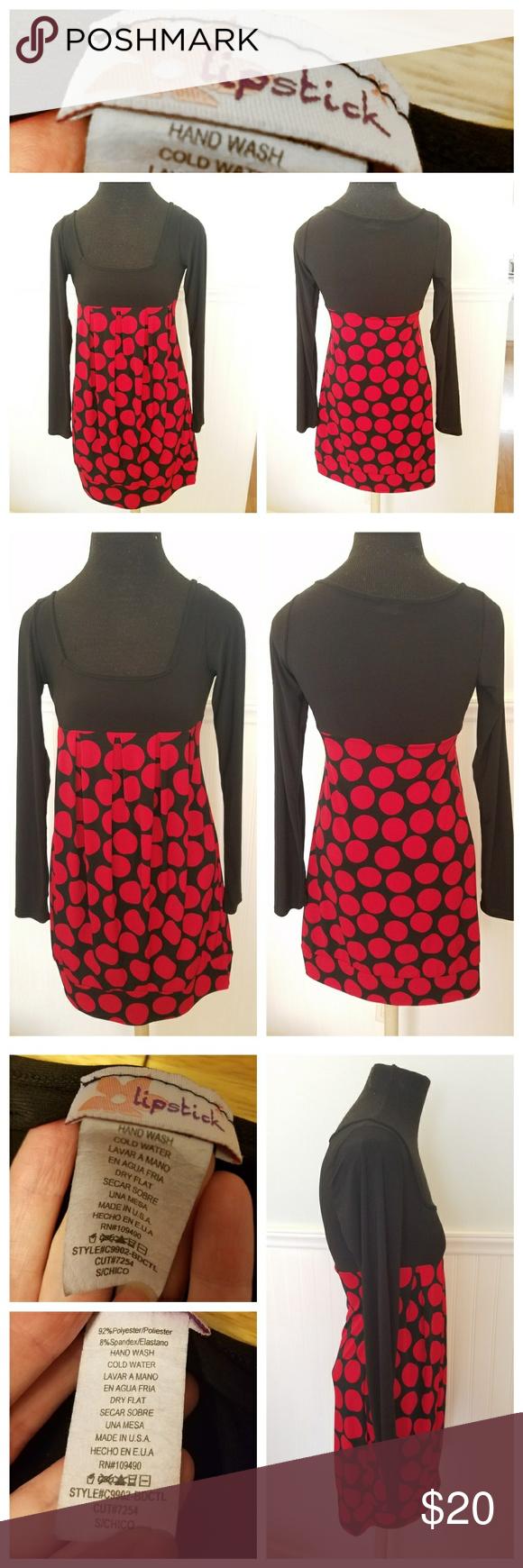 Lipstick black and red polka dot dress sz s my posh picks