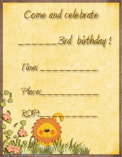 3rd Birthday Invitations Free Printable Party Invitation