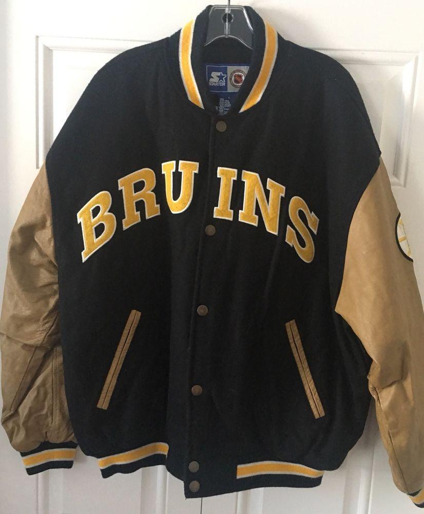 Starter Boston Bruins Varsity Jacket Large Black Wool Blend NHL Leather  Vintage  7809a19a7