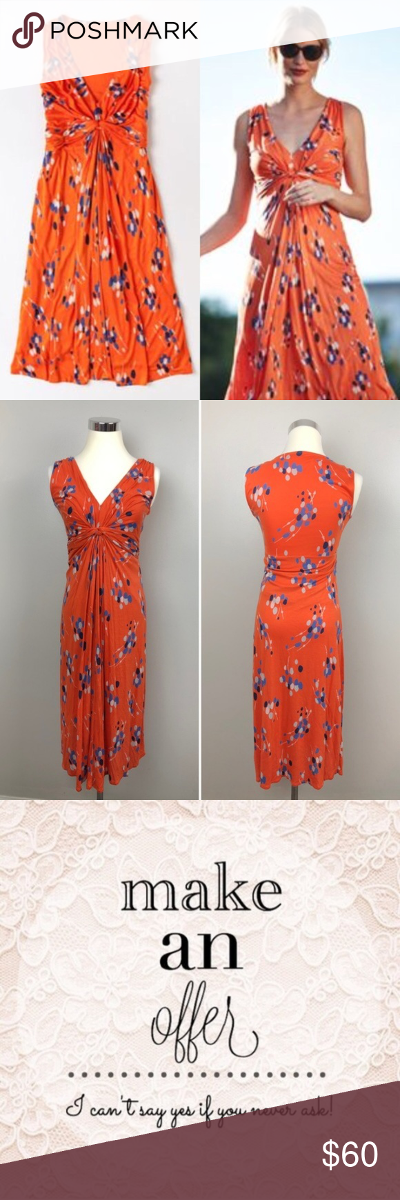 Boden Knit Detail Day Dress Jersey Orange Dots V20 My Posh Closet