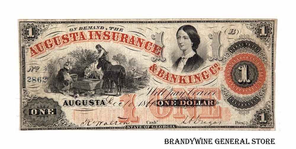Georgia Obsolete Currency Augusta Insurance And Banking One Dollar