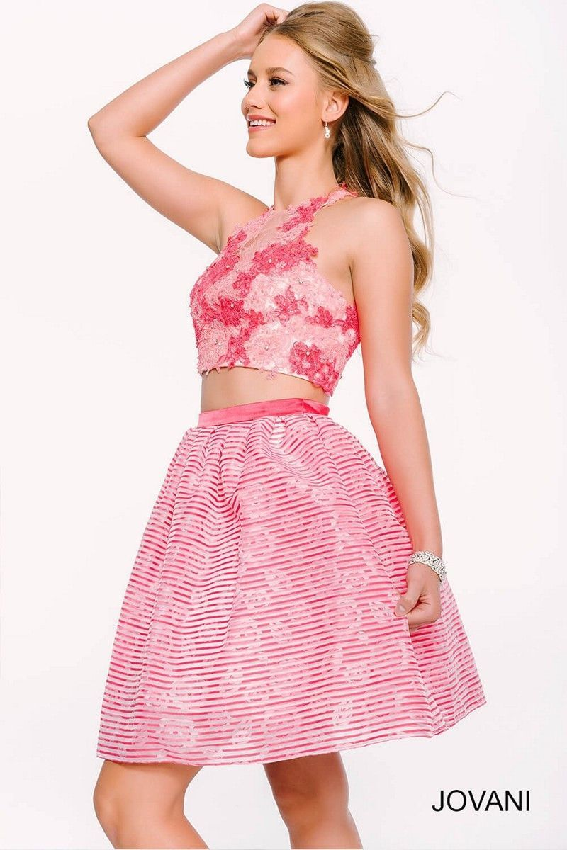 Jovani 42758 Pink Floral Two Piece Homecoming Dress | Products ...