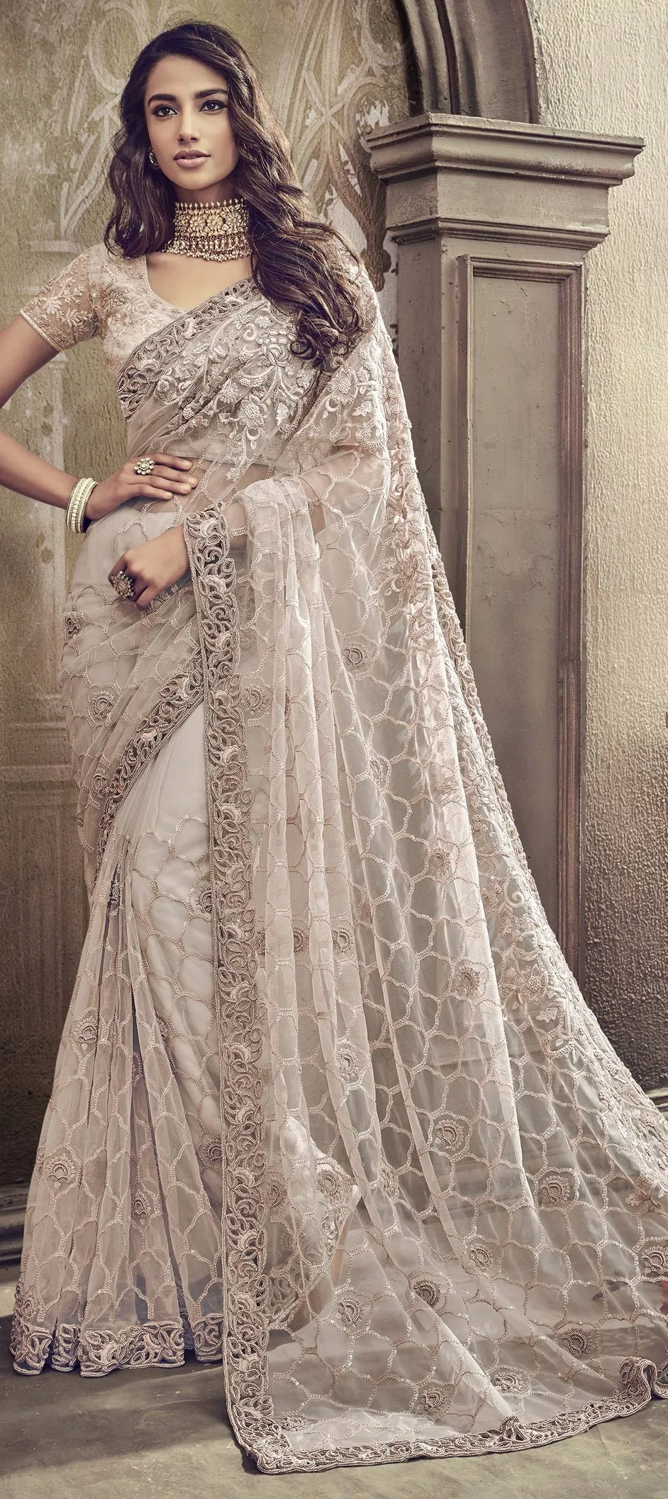 Bridal, Wedding White and Off White color Net fabric Saree : 1561930