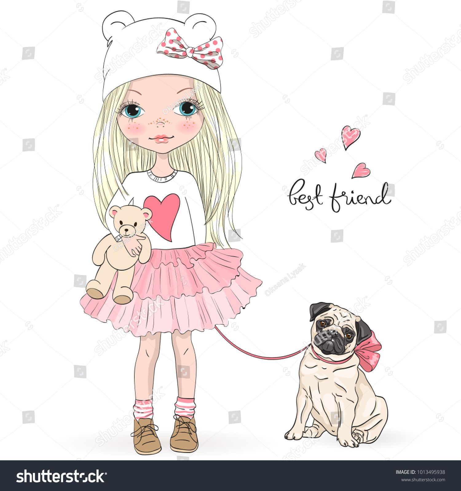 Hand Drawn Beautiful Cute Little Girl With Pretty Dog Pug